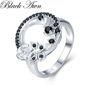 Image 3 - Cute 3.8g 925 Sterling Silver Fine Jewelry Baguet Row Engagement Black Spinel Butterfl Engagement Rings for Women G027