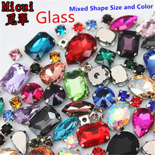 Micui 50PCS Mix Shape Glass Rhinestone Crystal Sew On With Claw Diy Colorful Dress Stone For Clothing Jewelry Accessories ZZ1000