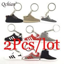 2pcs Silicone Yeezys 750 Yeezy 350 Boost Keychain Jordan Key Chains Sneaker Key Rings Holder Kids Llaveros Chaveiro Porte Clef