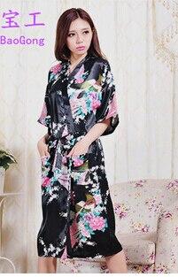 Alta Qualidade Robe Quimono de Seda Do Falso Robe De Seda Longo Branco Robe De Seda Chinesa Kimono Robes Para As Mulheres Por Atacado Noite