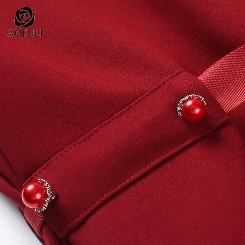 Lunghezza A La Lunga Arco Abiti Vestito Rosso Nastro Longuette Plus 5xl B6125 Polpaccio Inverno Per Size Signora 3xl Donne M Del Aofuli 2018 Metà Manica 4xl Solid wg8aaPnq