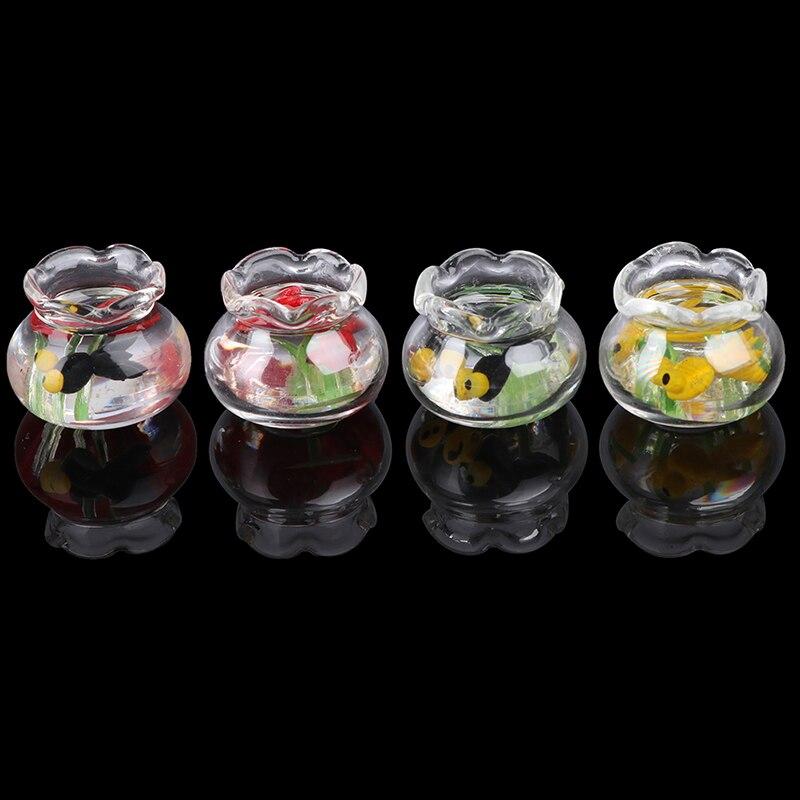 1:12 Dollhouse Accessories Miniature Glass Fish Tank Aquarium Doll Ornament HK