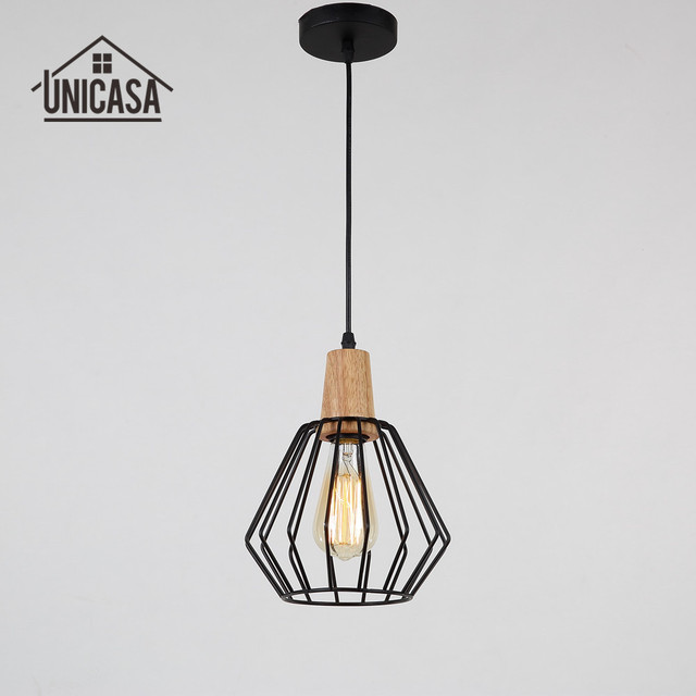 Wrought Iron Industrial Lighting Fixtures Vintage Wood Kitchen - Wood kitchen light fixtures