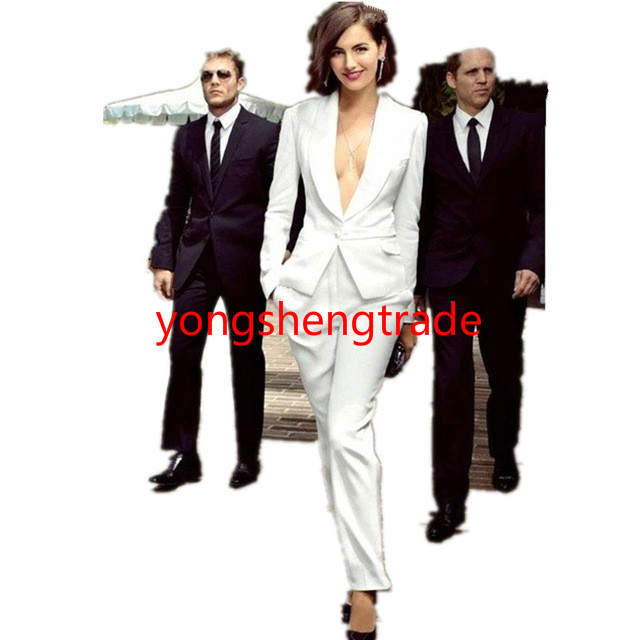 High quality Ivory women tuxedos Slim fit suits for women Shawl Lapel One button Custom women suits 118