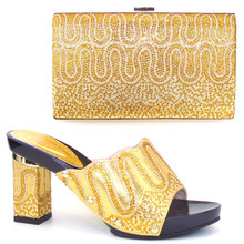 TH16-55  2016 Italian shoes and bags to match,gold sandal for women wedding/party pumps shoes and bag set with plenty stone.