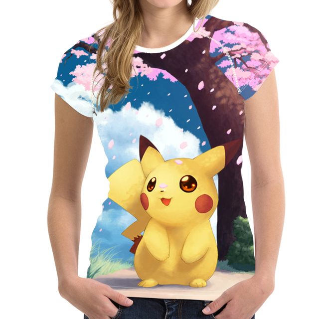 68e4e598 Noisy Designs Hawaiian Cute Anime Pokemon Pikachu Print T Shirts for Women  Ladies Cartoon Tops Summer Short Sleeve T-Shirt Girls