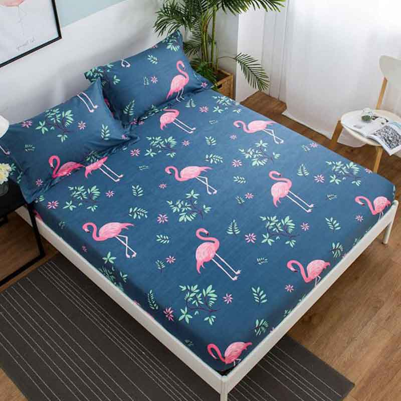 Flamingos Printed Mattress Pad Cover Bed Elastic Dust Mite Mattress Cover Protector Machine Washable Breathable Double Bed Sheet