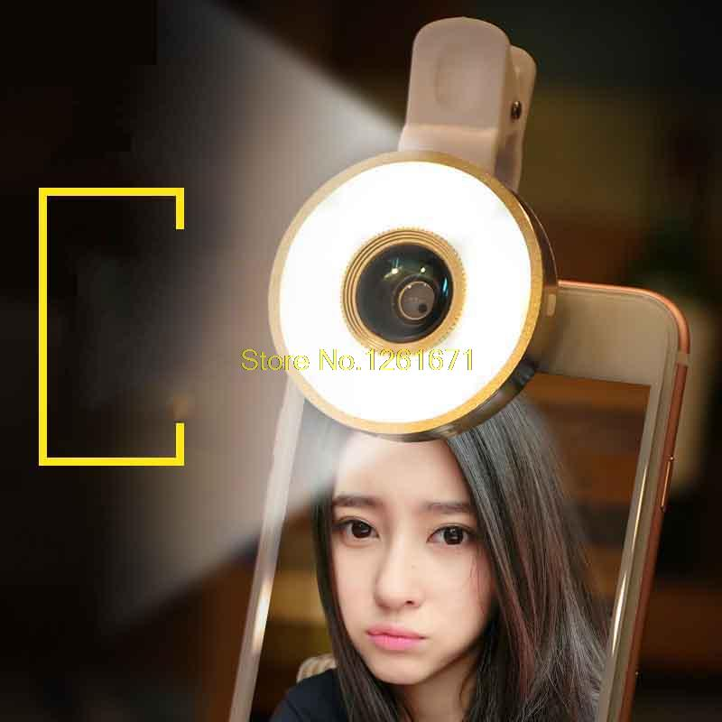 Fisheye Phone Camera Lens Kit LED Selfie Fill-in light + Macro + Wide Angle Lens for iPhone 7 7plus Samsung S8 S7 Universal V04 2