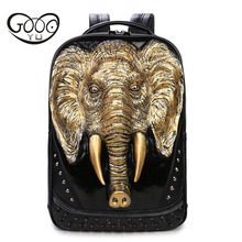 Relief shape Tide cool style Embossed 3d elephant male laptop leather backpacks willow tricycle Sharp rivets shoulder bags