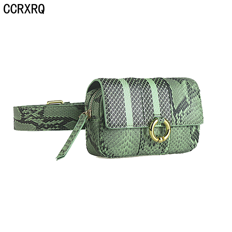 CCRXRQ Vogue Design Waist Bags Fanny Pack For Women High-end Leather Serpentine Lady Belt Bags Hot Sale Phone Bag Handy Bum Bag