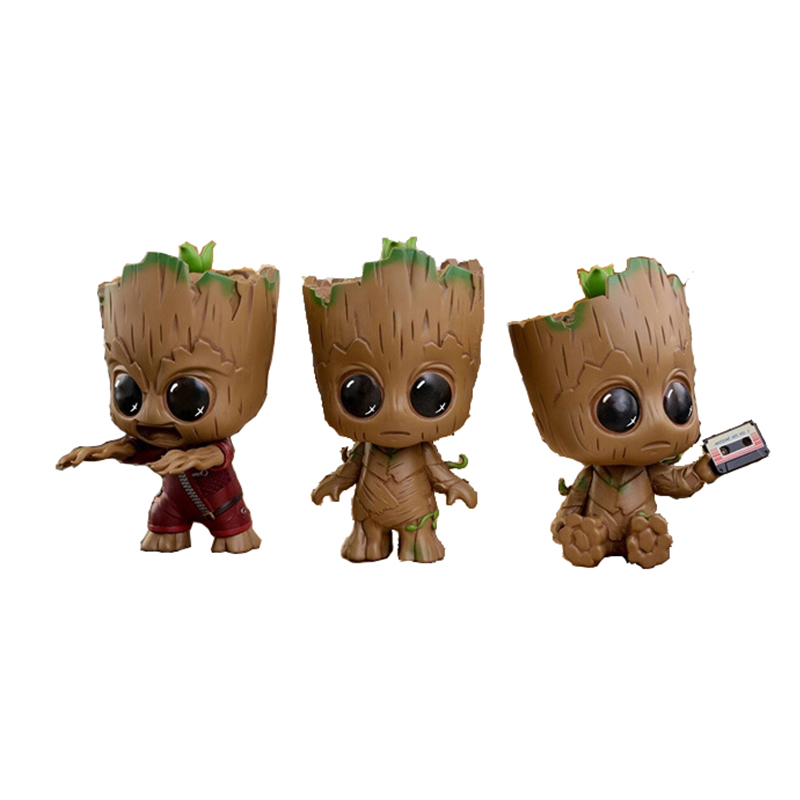 Free Shipping Kawaii 8cm Q-Version Groot PVC Action Figure Toy Guardians of the Galaxy Anime Tree Man Resin Collection Model Toy  10cm funko pop guardians of the galaxy groot pvc action anime figure doll shake bobble head groot tree man kids toys