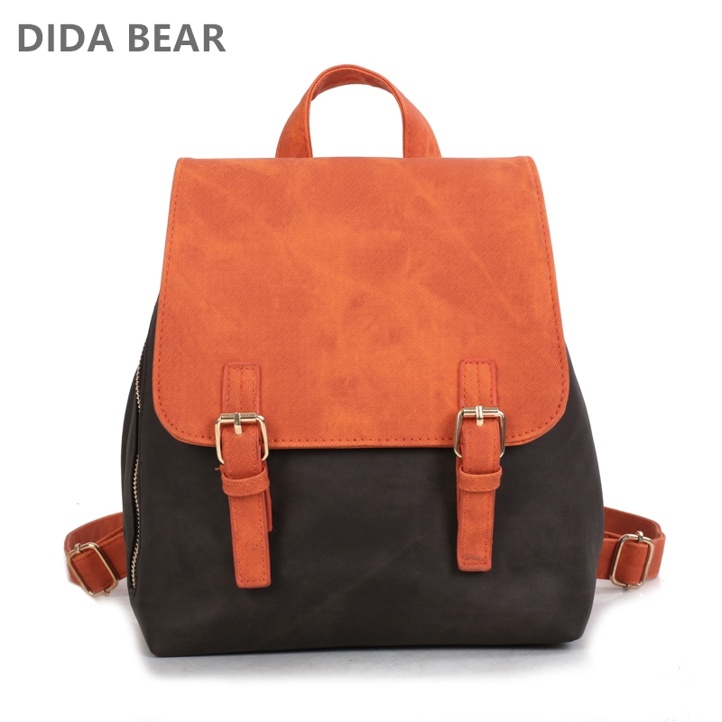 DIDA BEAR Brand Women Pu Leather Backpacks Female School bags for Girls Teenagers Small Backpack Rucksack Mochilas Sac A Dos doodoo fashion streaks women casual bear backpacks pu leather school bag for girl travel bags mochilas feminina d532