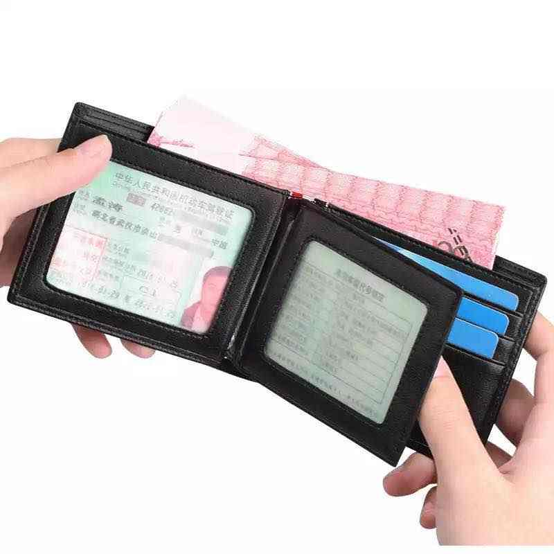 2019 nueva cartera de hombre de cuero corto Delgado estándar Casual Simple sólida Licencia de Conducir carteras hechos a mano efectivo tarjeteros regalos