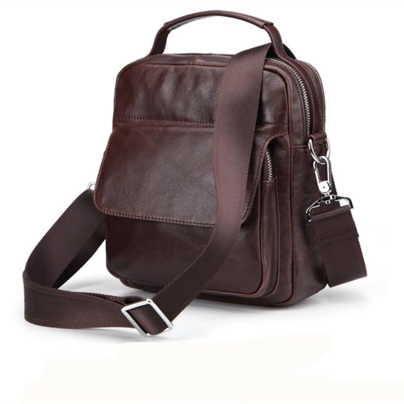 Men Vintage Business Handbags Multifunction Genuine Leather Shoulder Bag (US STOCK)
