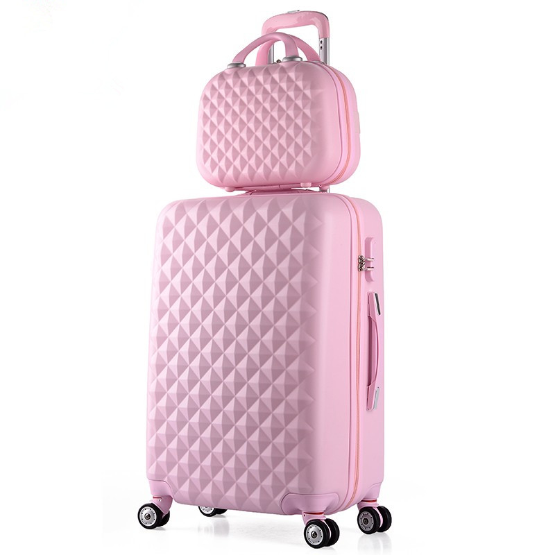 Wholesale!14 22inches pink abs+pc hardside travel luggage bags set on universal wheels fpr female,girl candy color fashion case wholesale high quality travel luggage cosmetic box male and female cosmetic bags on universal wheels multi purpose cosmetic case