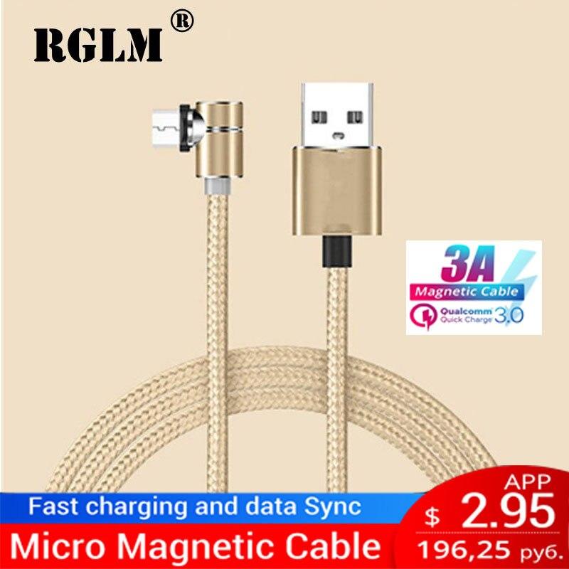RGLM Magnetische Oplaadkabel Micro USB Type C 8 Pin Kabel naar USB Cord Voor Mobiele Telefoon 90 Graden Magneet oplader Voor iPhone X 8 7