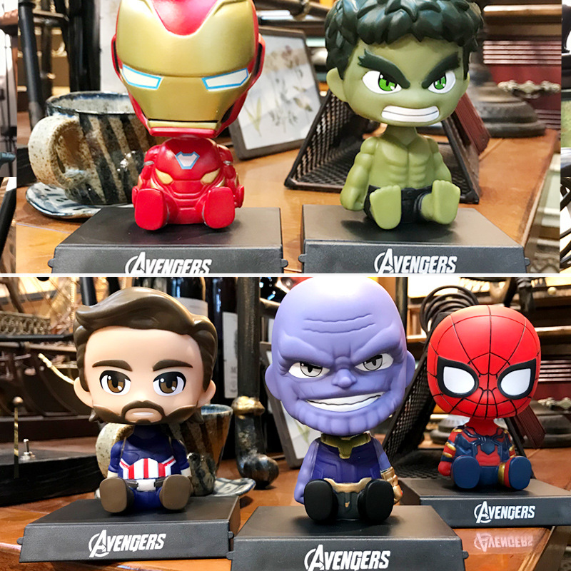 Image 5 - Car decoration Avengers Defensive shaking head statue doll decoration solar car interior home decoration car accessories gift-in Ornaments from Automobiles & Motorcycles