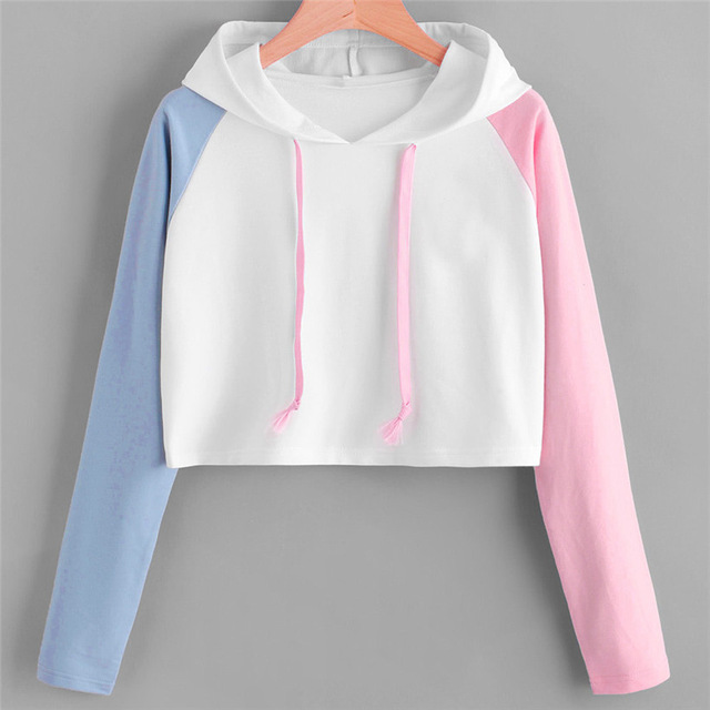 Women Hoodies Sweatshirts Girls Pink Blue Sleeve Crop Top Short Blouse Pullover Hoodie Sweatshirt 0912