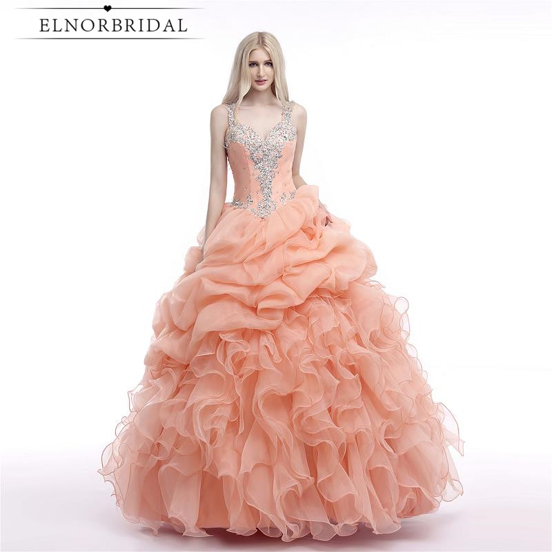 Coral Quinceanera Dresses 2019 Illusion Back Ball Gown Prom Party Dress Sweet 16 Dresses Girls Pageant Gowns Vestido 15 Anos