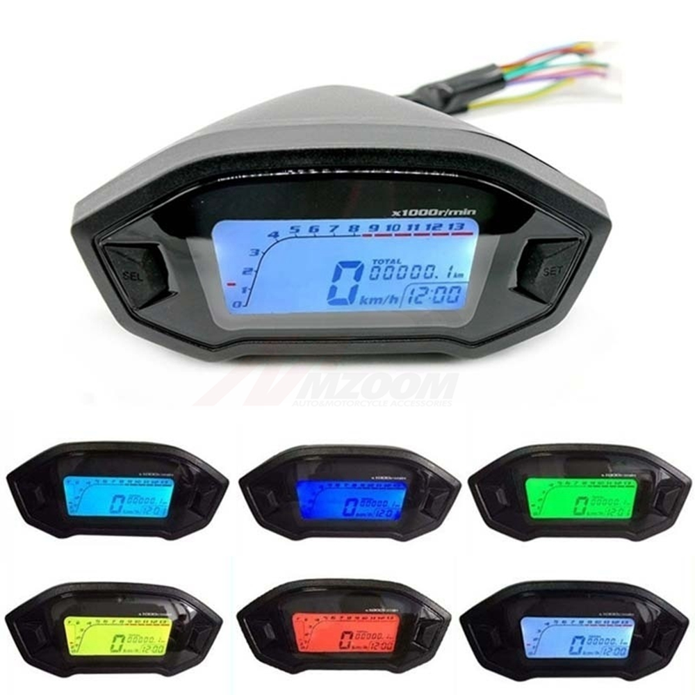 Universal Motorcycle LCD Digital Speedometer Odometer Backlight Motorcycle Odometer for 2,4 Cylinders Motorcycle Meter 13000RPM цена