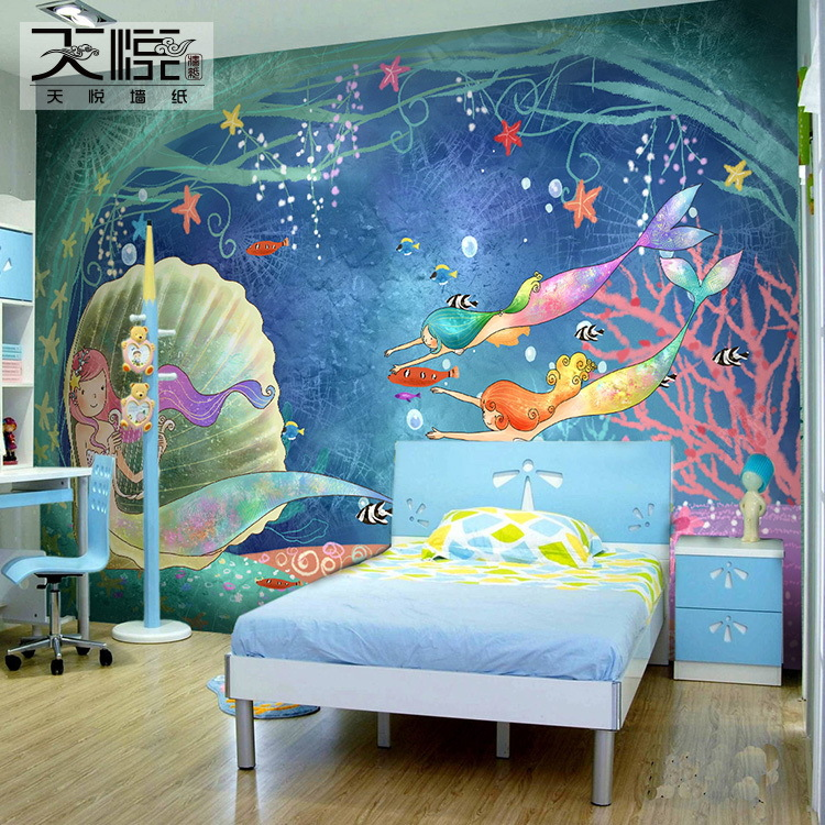 Buy free shipping a large mural painted for Cartoon mural wallpaper