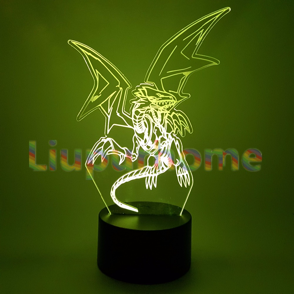 Yu Gi Oh Blue-Eyes White Dragon 3D LED Night Lights Home Decor Novelty Table Lamp Led Changing Nightlight For Kids Gift