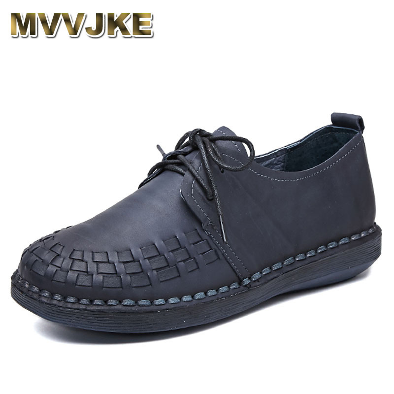 цены MVVJKE Genuine Leather Oxford Shoes For Women Round Toe Lace-Up Casual Shoes Spring And Autumn Flat Loafers Shoes Handmade Flat