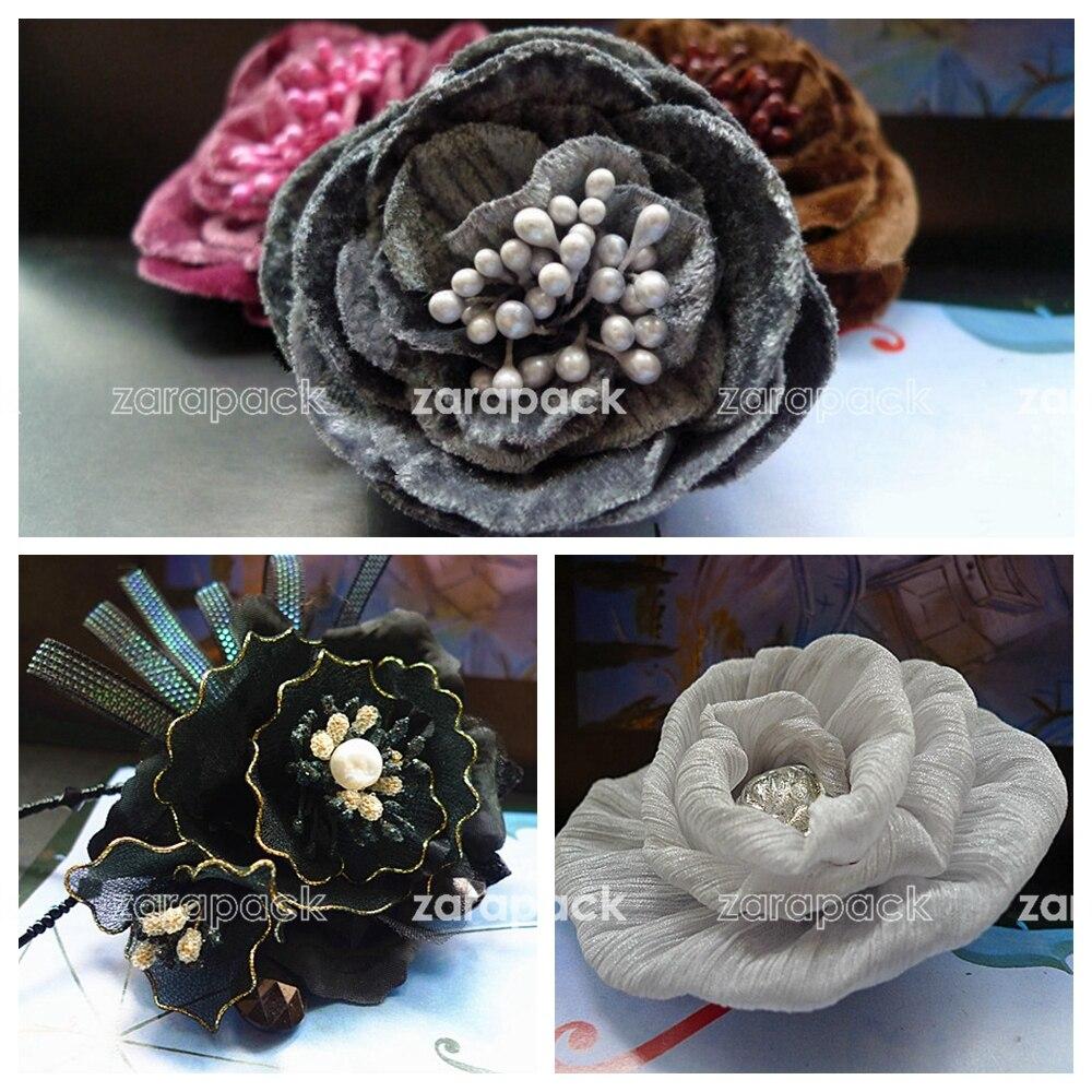 Designer Brand Luxury Handmade Velvet Silk Flower Pin Brooch Head