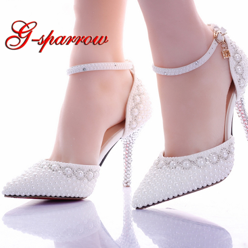 Hot Luxury Shiny White Pearl 9cm High heel Bridesmaid Bridal Shoes  Rhinestone Lady Shoe Wedding Party Pointed Toe Pageant Event 27fd6d9eea81