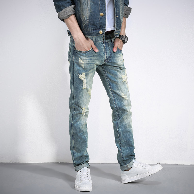 The new hole in jeans Straight men's cultivate one's morality The beggar pants men Young men's  Straight leisure trousers J033-1