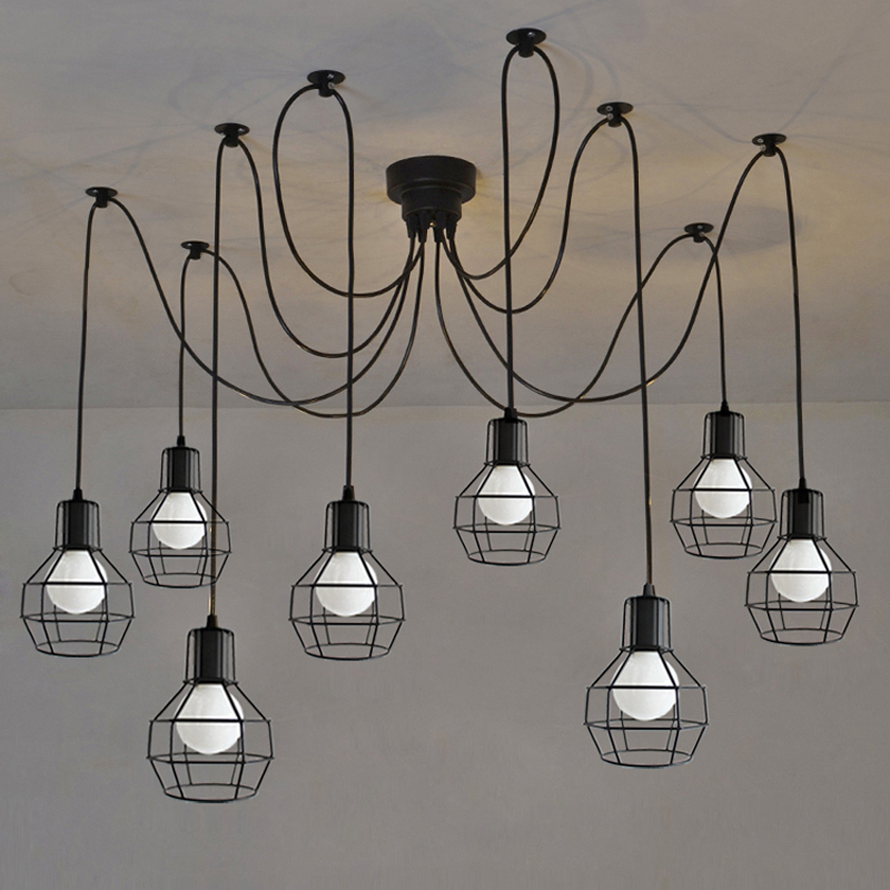 Art Spider Ceiling Lamp Fixture Light Modern Nordic Retro Edison Bulb Light Chandelier Vintage Loft Antique Adjustable lamps