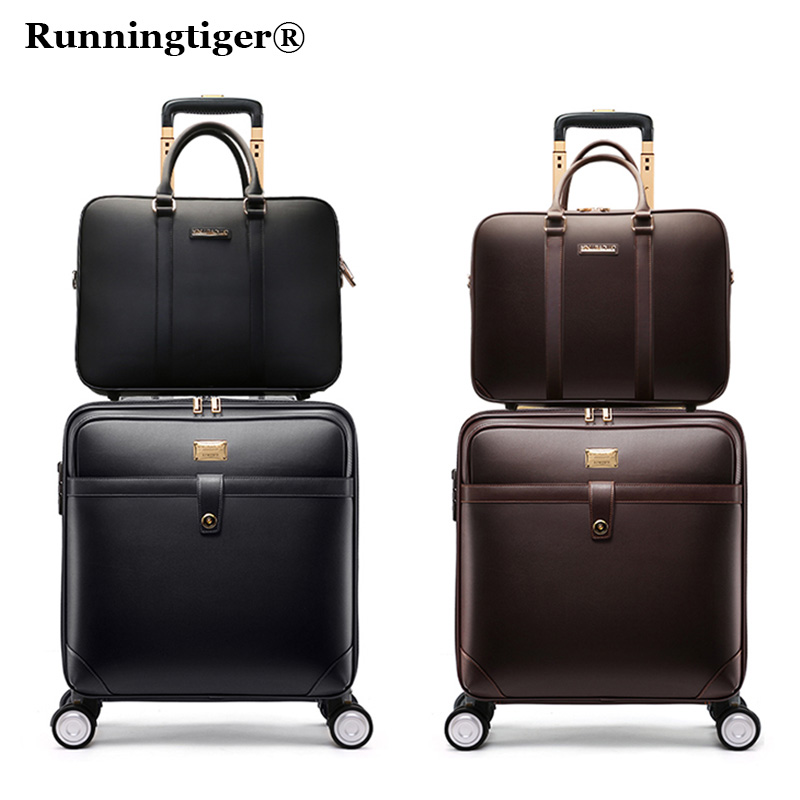 цена на 162024luxury Luggage Suitcase bag,Waterproof PU leather Travel Box with Wheel ,Rolling Trolley case Luggage Business suitcase
