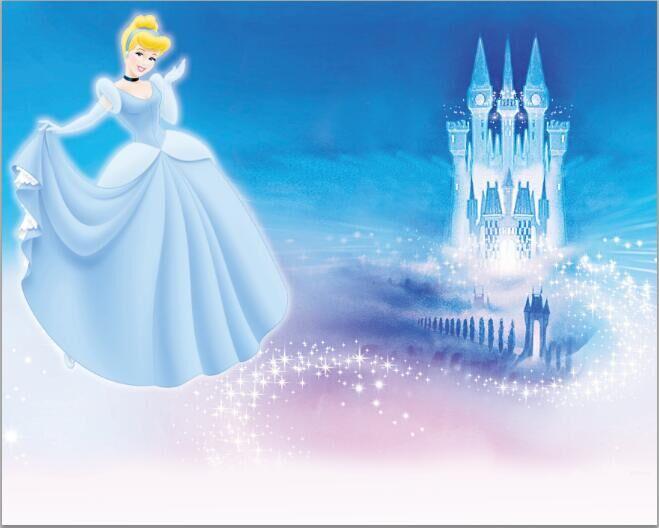 7x5ft Cinderella Princess Blue Palace Castle Sparkles
