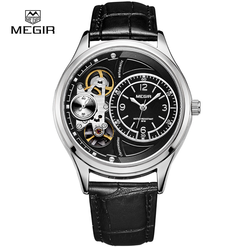 Men Watches Leather Belt MEGIR Automatic Self Wind Mechanical Wristwatch Water Resistant Double Dial Military Watch