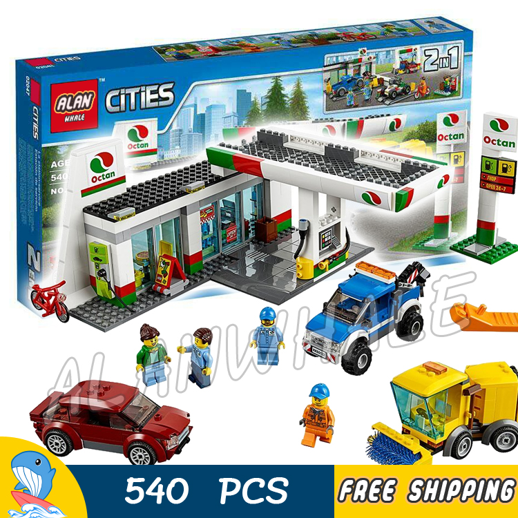 540pcs New City Service Gas Station Cars Garage 02047 Model Building Blocks Children Assemble Toys Bricks Compatible With lego 965pcs city police station model building blocks 02020 assemble bricks children toys movie construction set compatible with lego