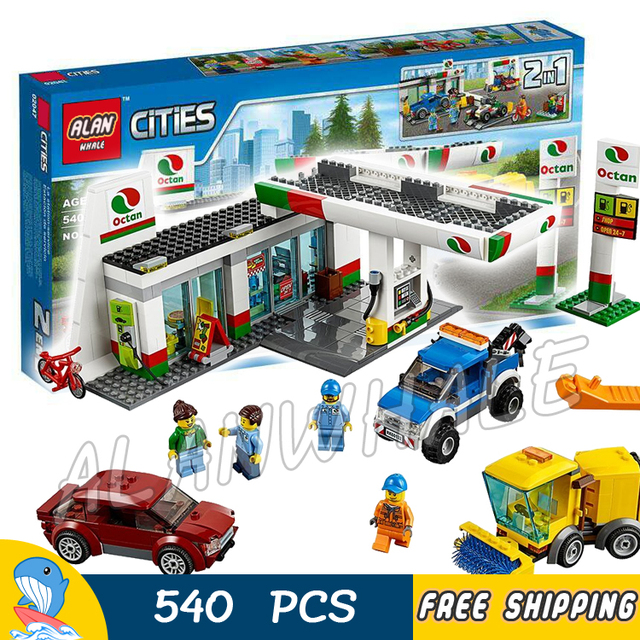 540pcs New City Service Gas Station Cars Garage 02047 Model Building