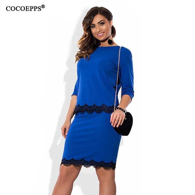 COCOEPPS Элегантный Сексуальные кружева 2 шт. набор женщины платья большой размер 2017 плюс размер женская одежда 6xl dress Носить на Работу Офис dress