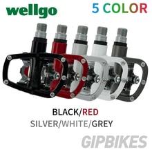 Wellgo R120B MTB горный велосипед без клипса педали с шипами SPD совместимый велосипед Алюминиевый сплав авто-замок самофиксирующаяся педаль