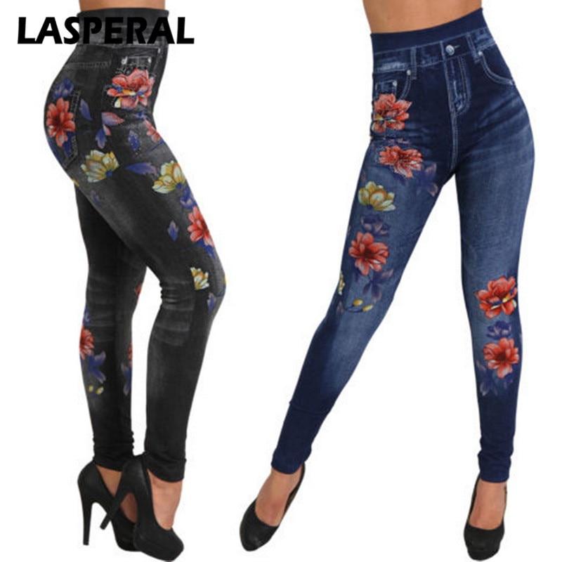 LASPERAL Faux Denim Jeans Leggings Women 2018 New Fashion Rose Print Pencil Pants Plus Size Casual High Waist Spandex Legging