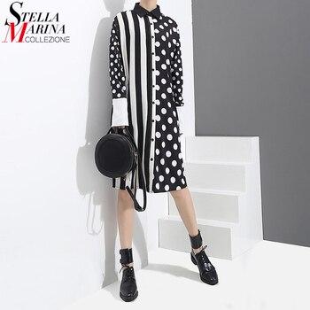 487fce5a17c6e0c 2019 корейский стиль женское летнее черное платье-рубашка в горошек с  принтом и длинный рукав в полоску женское повседневное миди подиумное п.