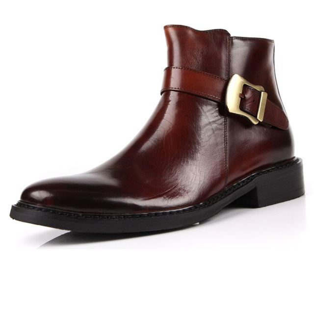 New Fashion Men's real leather Ankle Boots Inside Zip Formal shoes ...
