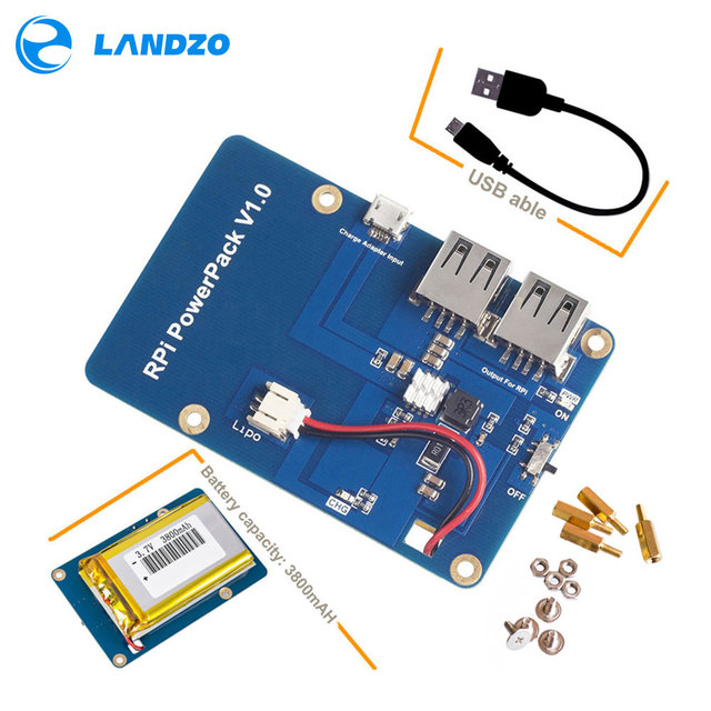Lithium Battery Pack Expansion Board Power Supply with Switch for Raspberry Pi 3,2 Model B,1 Model B+ Banana Pi