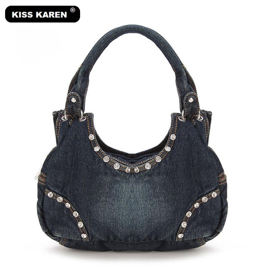 KISS KAREN Fashion Diamond Studs Denim Bag տիկնայք - Պայուսակներ - Լուսանկար 2
