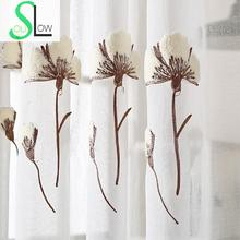 Slow Soul White Modern French Window Pastoral Floral Curtains For Living Room Tulle Kitchen Cotton Bedroom Sheer And Embroidered slow soul white blue yellow jasmine curtain fabric embroidered floral kitchen curtains for living room tulle bedroom and luxury