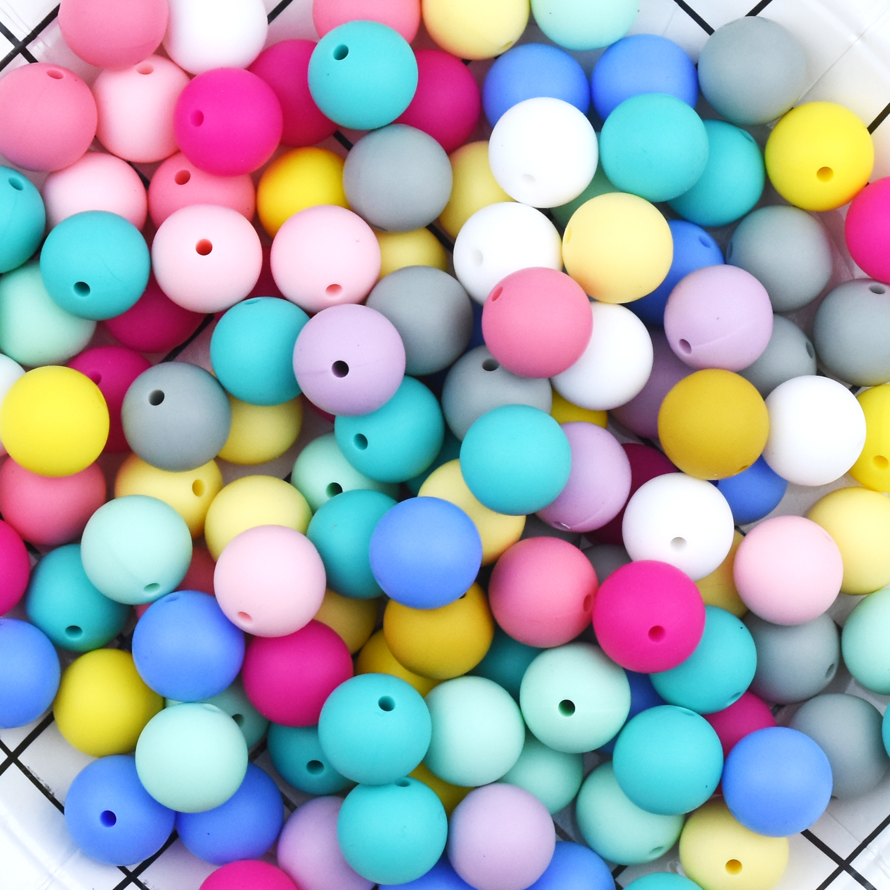 Happyfriends 10pcs 19mm Soft Silicon Bead Baby Chew Teething DIY Accessories Large Size Silicone Round Beads Baby Teethers