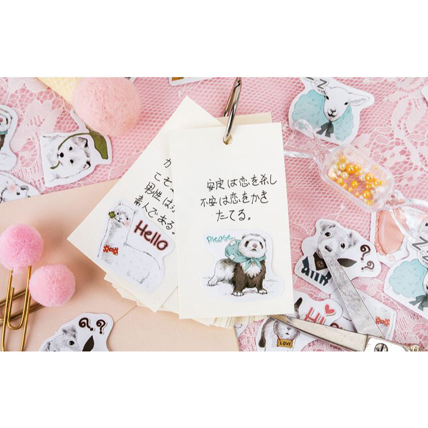 45pcs box Cute Pet Collection Diary Decoration Stickers DIY Planner Scarpbooking sealing Label Sticker Children Stationery in Stationery Stickers from Office School Supplies