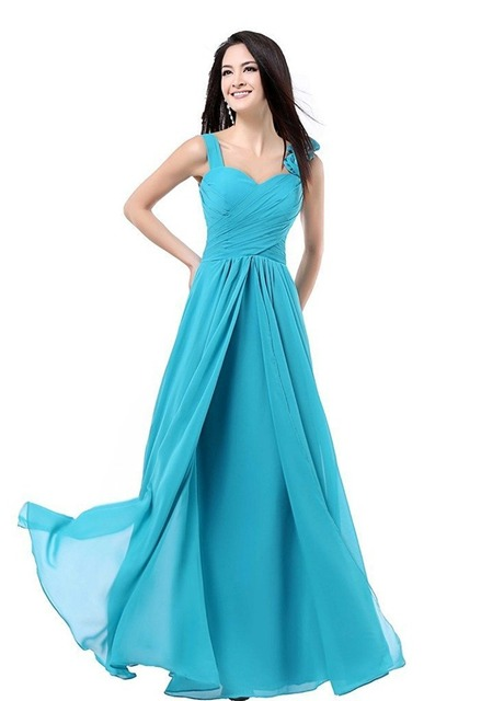 Women  A Line Floor Length Chiffon Prom Dresses Formal Party Long Bridesmaid  Dresses Turquoise Burgundy Pink Blue Purple Red 706640e9119b