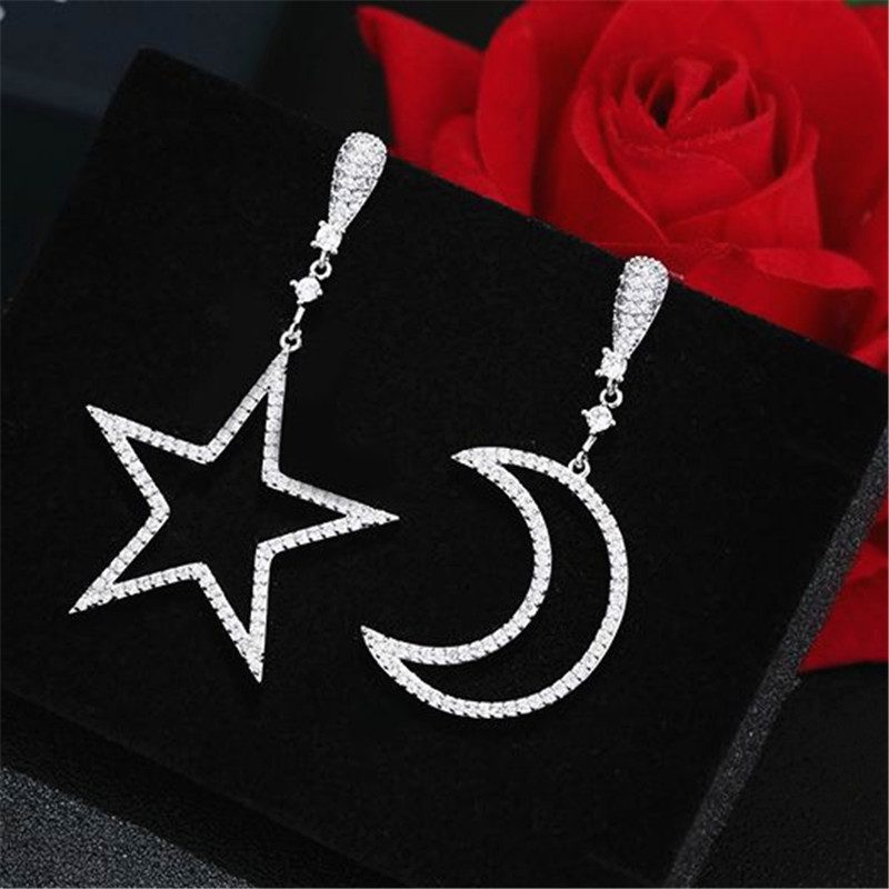 New Arrival Ab Design Star And Moon Zircon Long Earrings For Women Simple Elegant Hollow Out Ear Fashion Jewelry Cute Gift
