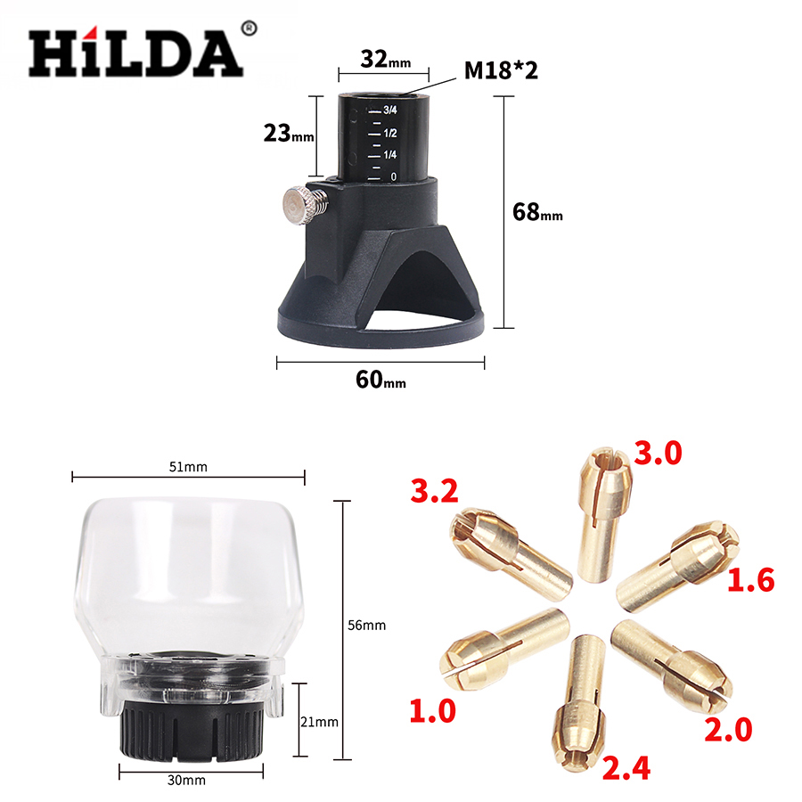 HILDA 8 PCS Dremel Drill Dedicated Locator Horn A550 Shield Rotary Tool Attachment Accessories Dremel with Brass Collet Chuck located horn dremel drill dedicated locator for small electric grinder dremel drill rotary dremel accessories