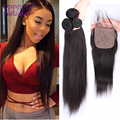 8A  3 Pcs Straight Brazilian Virgin Hair Silk Base Closure With Bundles Unprocessed Straight Hair With Silk Closure Hidden Knots